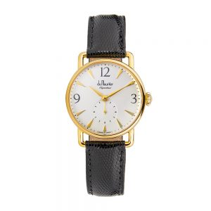 Daphne Signature ladies watch with Silver dial & black lizard strap
