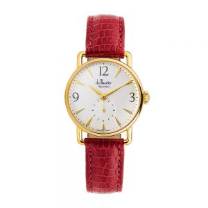 DSG-SLVD-RED-du maurier Daphne Signature ladies watch silver dial red strap