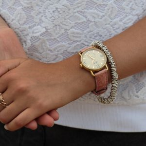 daphne signature gold dial light pink strap