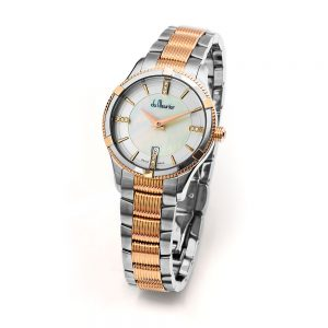 Rebecca Women's Watch with Diamonds, Mother of Pearl & Rose Gold, Steel & Rose Gold Bracelet