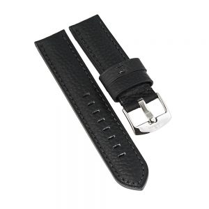 commodore-black-leather-strap water restistant