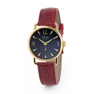 Daphne signature ladies watch black dial red lizard strap