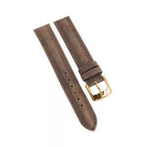 Daphne Signature Brown brushed leather suede strap