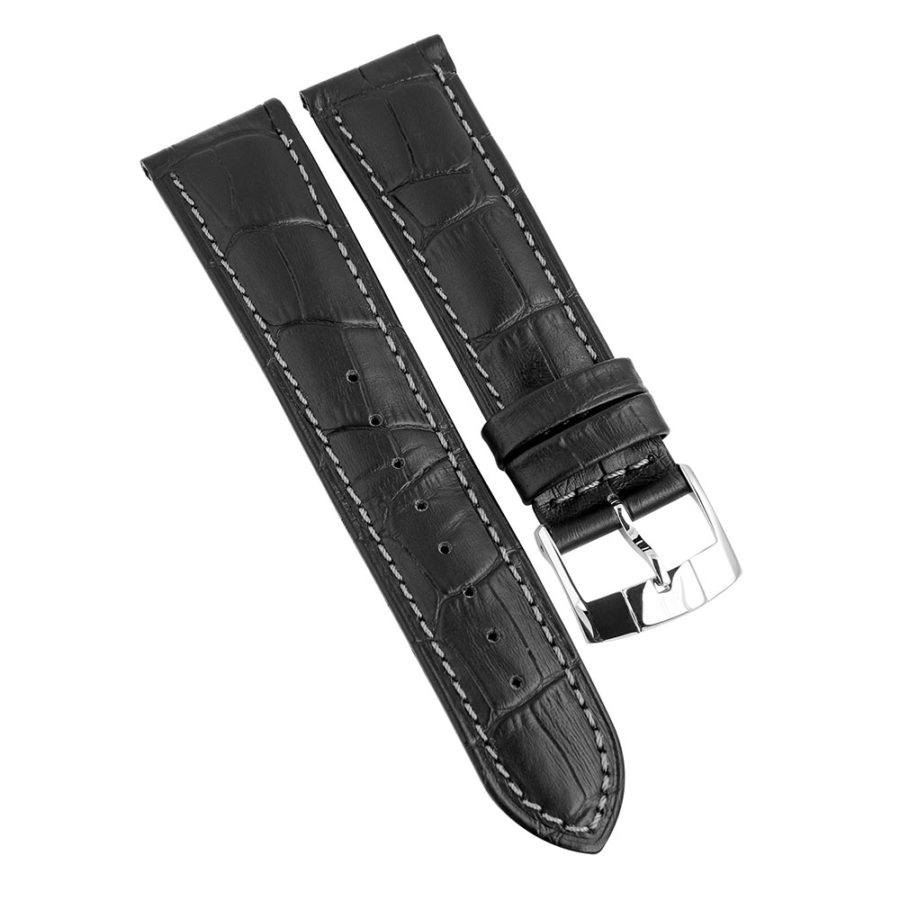 Black leather 22mm du maurier watches for Black leather strap
