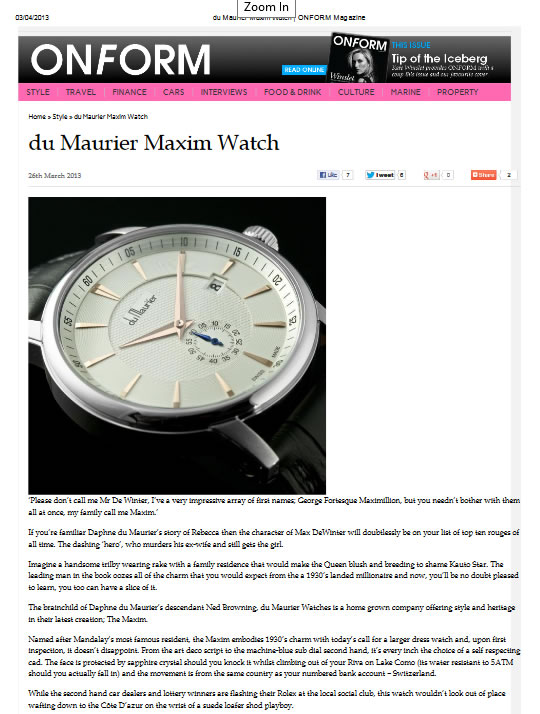 On Form Magazine du Maurier Maxim Watch