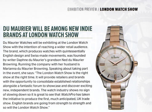 WatchPro - Du Maurier - new Indie Brand at London Watch Show