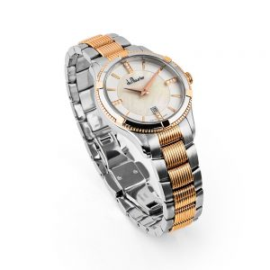rebecca ladies watch mother of pearl rose gold diamonds du maurier
