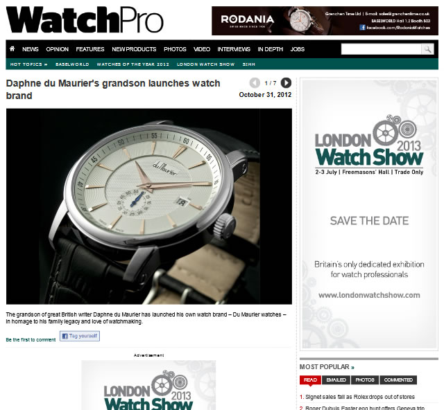 WatchPro - Du Maurier Grandson Launches Watch Brand